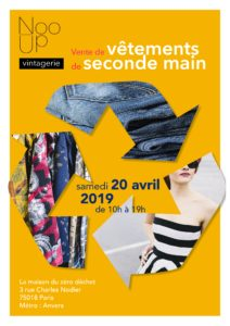 affiche de la vente de vêtements de seconde main Nooup